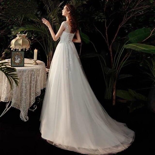 Boho robe de mariee vestido novia wedding dress longue Robe De Soiree simple robe de soiree bride to be gown lace robe 4