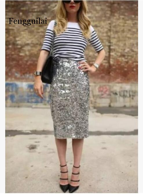 New Fashion Women Silver Sexy Sequined Package Hip Skirtsone Step Pencil Skirt