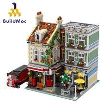 Buildmoc street views tijolos praça post office ideias especialista criador presentes de natal blocos de construção tijolos com 3716 peças brinquedos