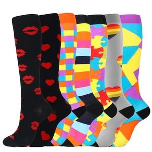 Image 5 - 7 זוגות\חבילה מעורב דחיסת גרביים Fit עבור ריצה יוניסקס אחיות טיסה נסיעות רגל לחץ לדחוס גרביים באיכות גבוהה