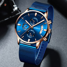 CRRJU New Men Watch Luxury Brand Quartz Chronograph Watches Men Casual Dress Wristwatch Mens Waterproof Mesh Watchband Clock(China)