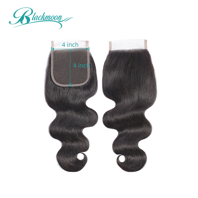 Body Wave Closure 4x4 Lace Closure Natural Color Remy Hair Weaving Closure Peruvian Hair Closure 8-20inch 150% Blackmoon Hair