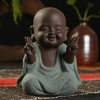 Small Monk Buddha statues wear  Gold Necklace color sand ceramic home club geomantic decoration Purple Sand Figurines Tea Pet 1