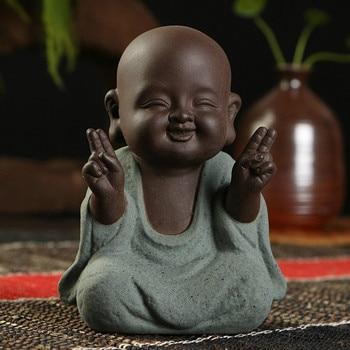 Small Monk Buddha statues wear  Gold Necklace color sand ceramic home club geomantic decoration Purple Sand Figurines Tea Pet 1