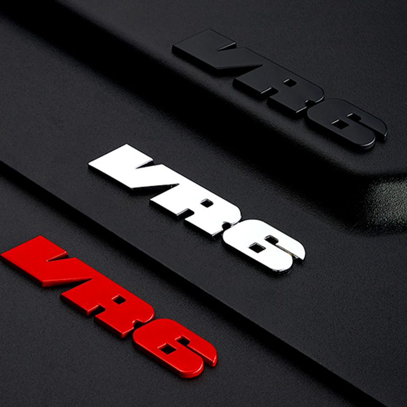 Auto Logo 3D <font><b>Sticker</b></font> Red VR6 Car <font><b>Stickers</b></font> Front Grill Decals <font><b>MK3</b></font> Grille Auto Logo For VW <font><b>Golf</b></font> Corrado Jetta Passat Car Gadget image