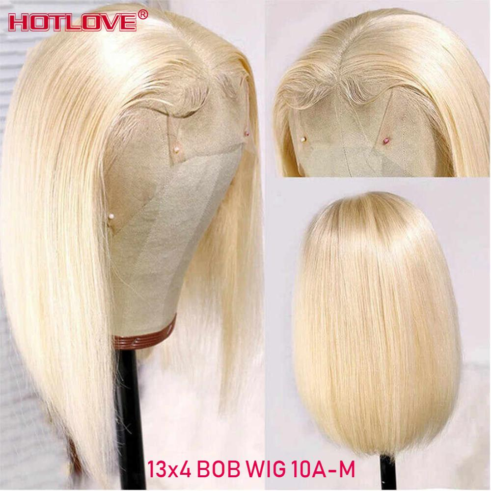 613 Blonde Lace Front Human Hair Wigs Brazilian Short Bob 13x4 Transparent Lace Front Wigs Blonde Straight Hair Wigs Remy Hair