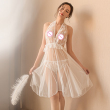 2019 Sexy Lingerie Women Perspective Beautiful Black Gauze Strapless Lace Temptation Strap Nightdress Set Sex Toys For Woman