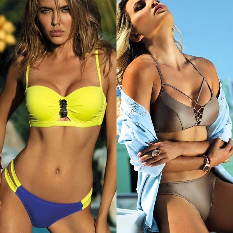Rinabe 2019 Push Up Bikini Bandeau Swimwear Women  Hollow Out Swimsuit Female Bathing Suit Chest Rhinestone Bikini Set