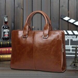 Image 5 - Mens Business office Briefcase Computer Laptop Handbag male Top PU Leather Tote man Large Solid Shoulder bags Black Vintage bag