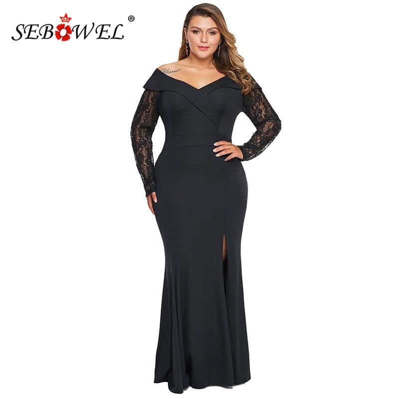SEBOWEL femme noir grande taille pure dentelle perlée manches hors épaule Maxi longues robes femme élégante robe de soirée robe XL-5XL