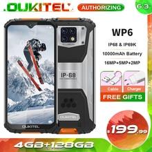OUKITEL WP6 4GB+128GB 6.3 FHD+ IP68 Waterproof Mobile Phone 16MP Triple Cameras 10000mAh Rugged Smartphone