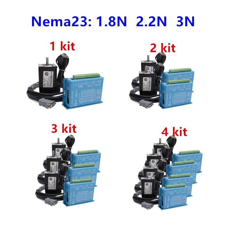 Kit de motor de circuito cerrado de 4 ejes: sistema de circuito cerrado de motor de pasos nema 23 + servoaccionamiento HBS57H con cable 3M pieza cnc
