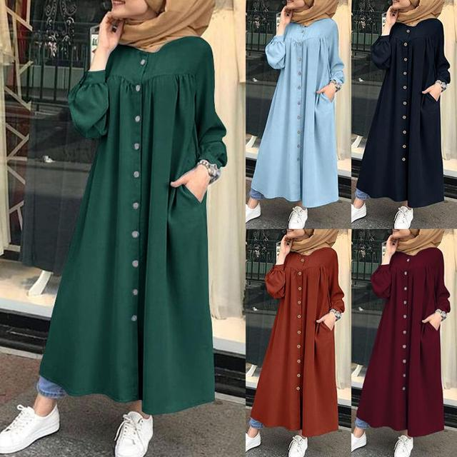 Plus Size Muslim Dresses 2020 Woman Shirt Dress Long Sleeve Maxi Vestidos Female Button Robe High Wasit Solid Sundress 1