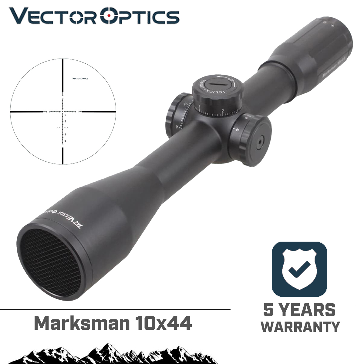 Vector Optics Marksman 10x44mm Hunting Long Eye Relief Varmint Rifle Scope Sight With RangeFinder Glass Reticle 30mm Mount Ring