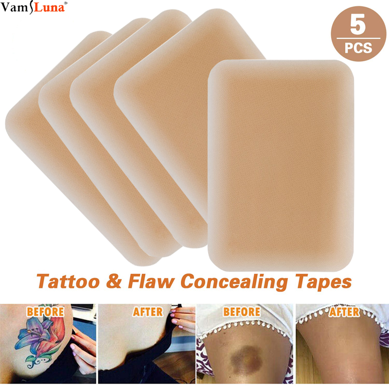 5 Pack Breathable Tattoo & Flaw Concealing Tape,  Scars Flaw Cover UP Tape Stickers,Tattoo Covers And Skin Shields Cover Up Tape