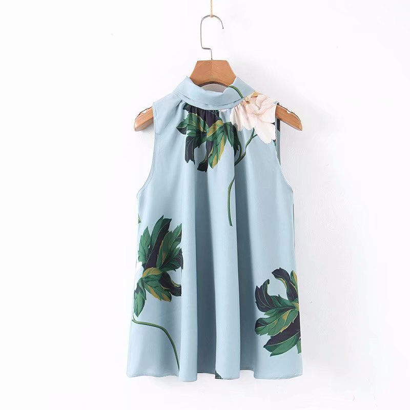 2019 New Women Elegant Floral Print Casual Smock Blouses Ladies Sleeveless Back Bow Tied Chic Shirts Leisure Chemise Tops LS4074