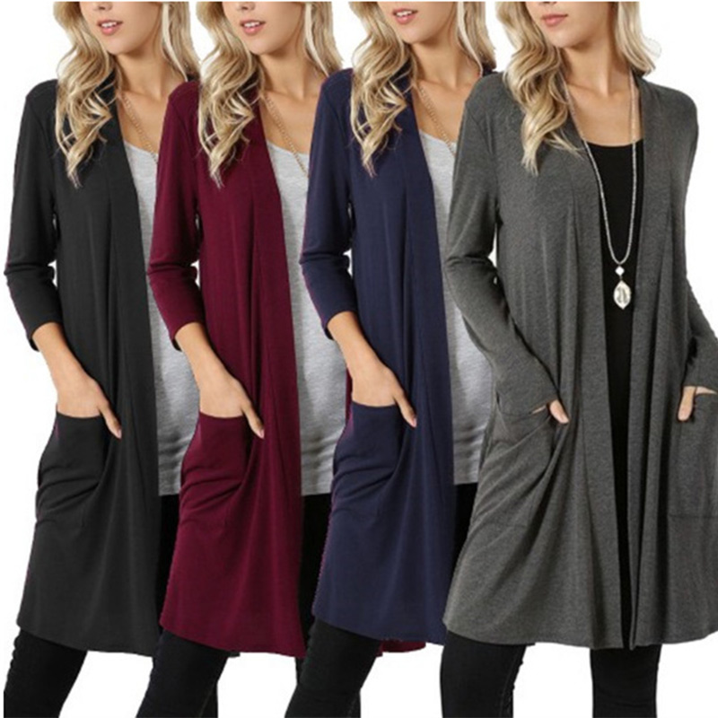 Women Plus Size 5XL Cardigan Long Sleeve High Quality Tops Femme Autumn Simple Elegant Pocket Knitted Outerwear Sweater Female