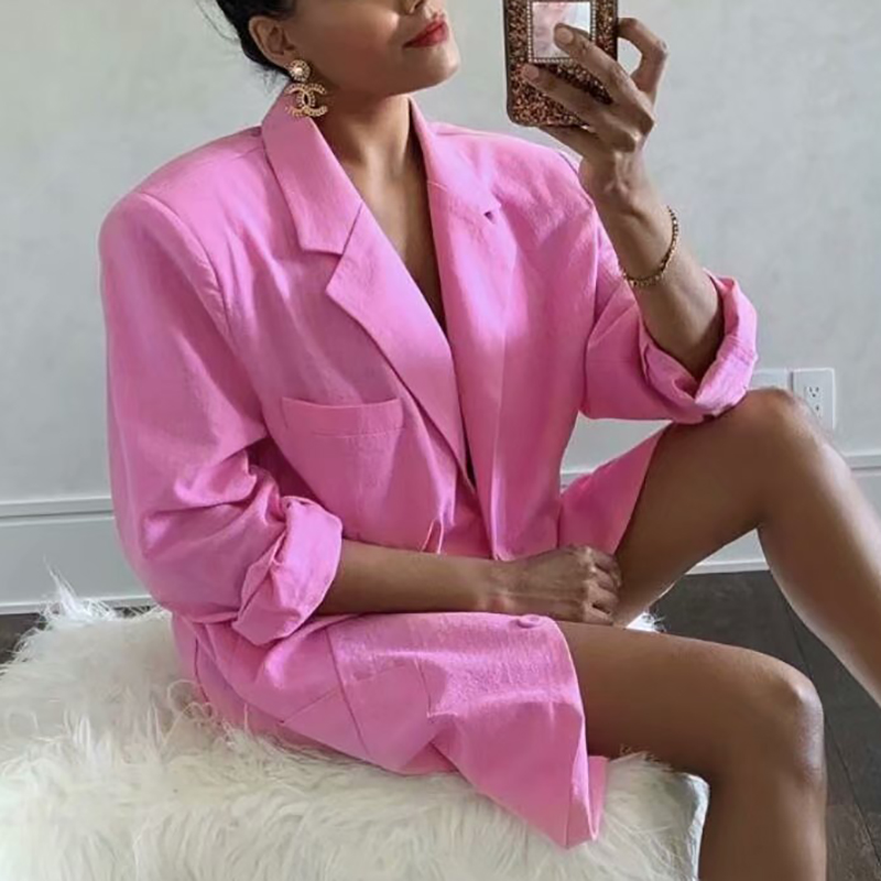 ZXQJ Women Cool Pink Blazer 2021 Summer Fashion Ladies Sexy Thin Cotton Jackets Elegant Female Chic Suits Casual Girls Cute Top