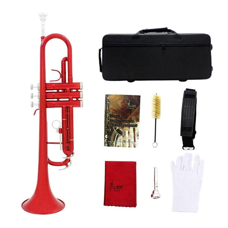 ABGZ Slade Bb труба B плоская прочная Латунная Труба для начинающих музыкальный инструмент с мундштуком перчатки и Изысканная сумка