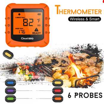 100m bluetooth wireless remote digital smart bbq grill barbecue meat food cooking smoker thermometer with 6 probes