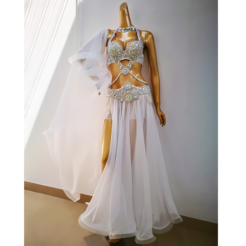 Top Quality Women Belly Dance Suit Bellydance Carnival Costume Performance Outfit Bollywood Showgirl Bellydance Bra&belt&skirt
