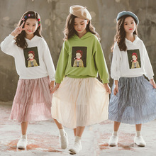 2019 Girls Clothing Sets Casual Kids Green White Red Hoodie Top + Skirts With 2pcs Teenage Clothes Set For 6 7 8 9 10 12 Year