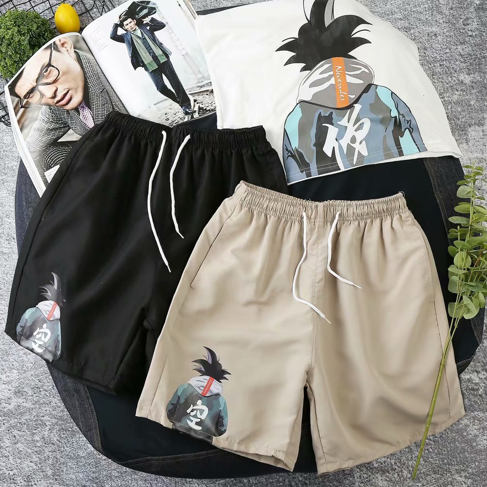 Summer Casual Shorts Men's Teenager Douyin Celebrity Style Sun Wukong Printed Shorts Loose-Fit Trend Large Size Pants