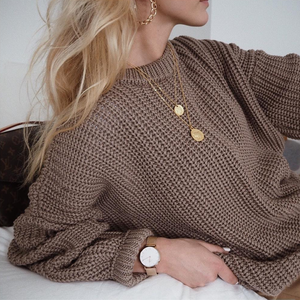 Knitted Sweater Pullovers Cashmere-Tops Loose Warm Autumn Women Fashion Solid O-Neck