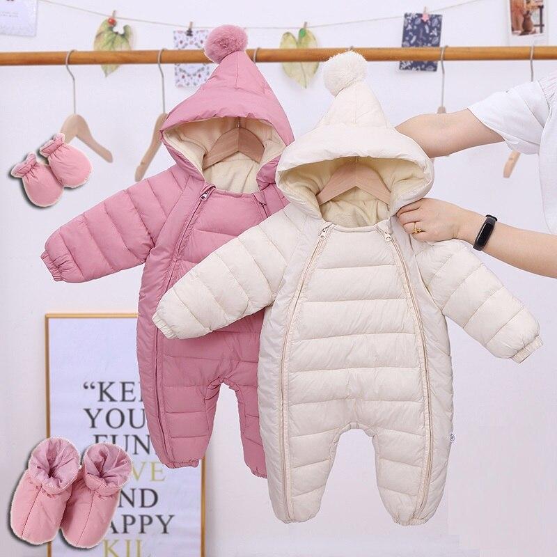 OLEKID 2021 Newborn Baby Jumpsuit Hooded Plus Velvet Warm Baby Boys Snowsuit Toddler Snow Suit Baby Girl Cotton Overalls Rompers