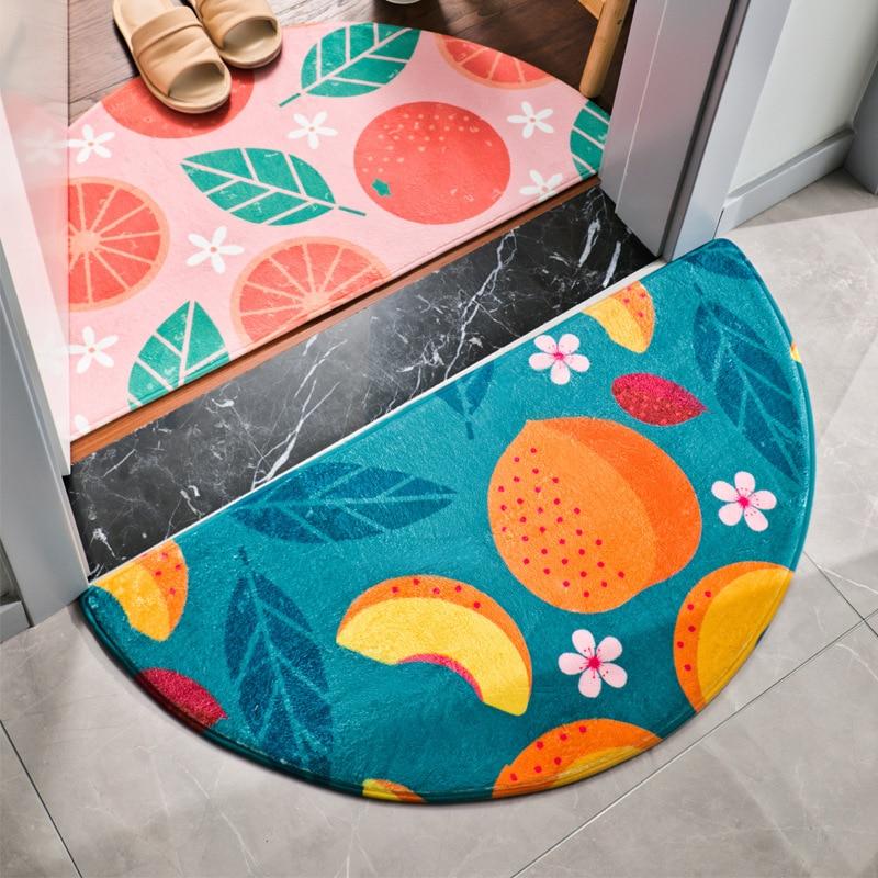 Half Round Rainbow Doormat Fruit Print Floor Mat Semicircle Home Carpet For Bedroom Bathroom Antislip Hallway Doormat Area Rug