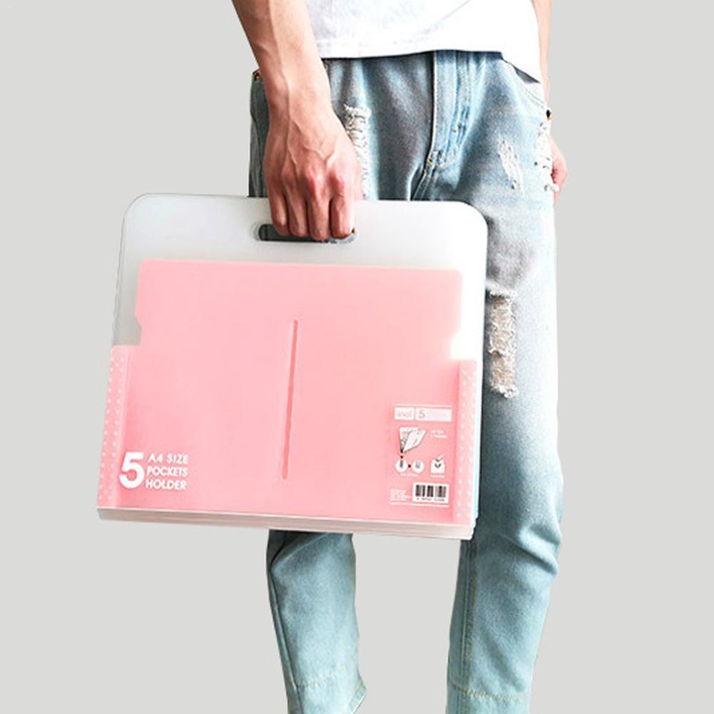 New 5 Grid Files File Folder Wallet Portable Organ Organizer Bag Document Bag Supplies Office Holder A4 School Paper Organi O3I5