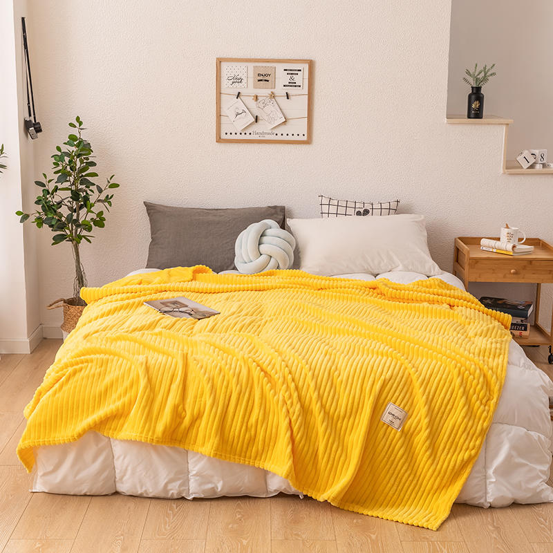 Blankets-On-The-Bed Couverture-De-Lit Queen Plaids Yellow Single-Size Sofa Coral-Fleece
