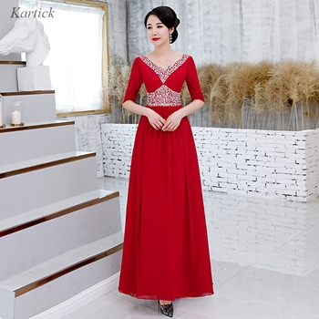 Newest Evening Dresses with Half Sleeve Elegant V-Neck Ball Prom Party Pageant Graduation Formal Dress/Gown Women Girls Dress