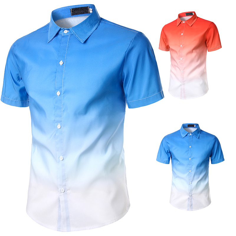 Men's Shirt Beach Short Sleeve Shirt Gradual Color Printing Shirt Fashion Shirt Men's Top Casual Beach Men's Short Sleeve Shirt