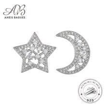 Aneis bagues Твердые 925 стерлингового серебра луна и звезды