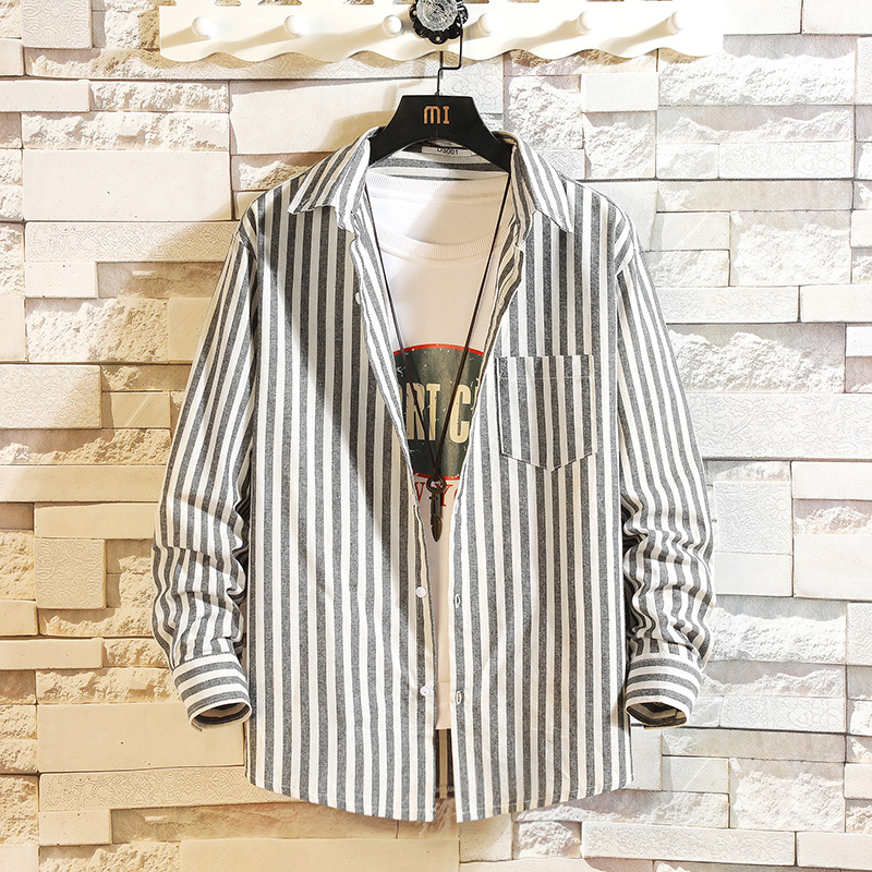 High Qualit Striped Casual Spring Autumn 2020 Men Fashion Long Sleeved Male Business Shirt Brand Men Clothes