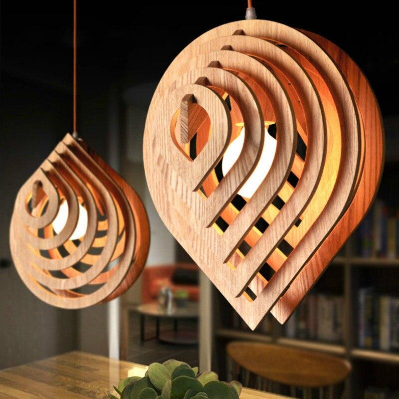 Luces colgantes de gota de agua de madera lámpara creativa lámpara de sala de restaurante lámpara de madera sólida de cabeza simple WF1213350