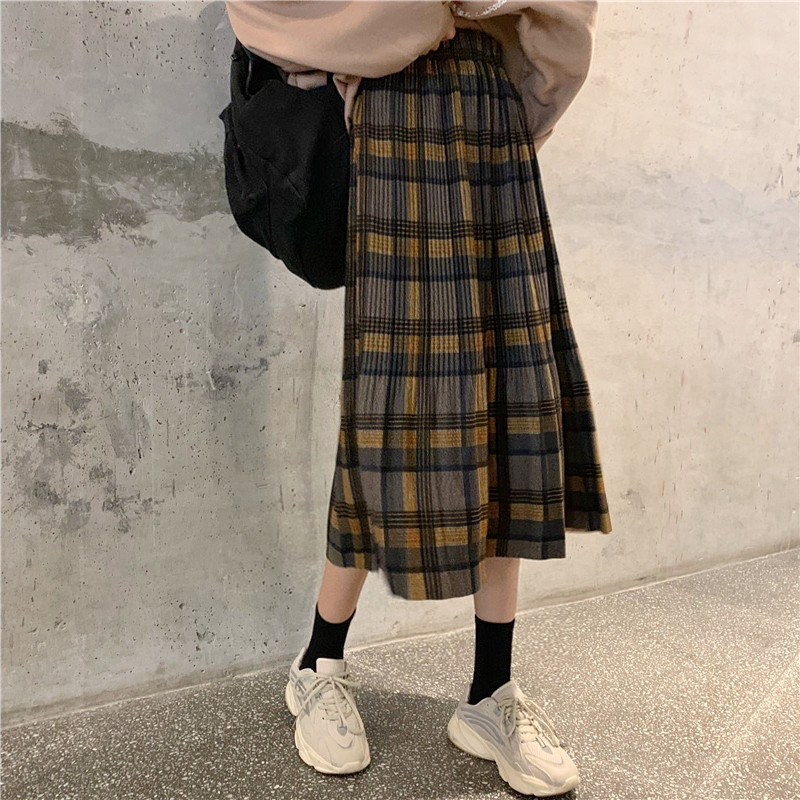 Plaid Skirt Women's Thick Autumn And Winter New Style Woolen Skirt Slimming High-waisted A- Line Skirt Students Retro Pleated Sk