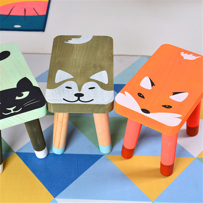 Nordic Nursery Navidad Animal Kids Chair Wood Furniture Fauteuil Enfant Home Decoration Accessories Wooden Stool Mesa Infantil