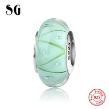 SG sparkling Murano glass beads light green diy 925 silver charms fit original pandora bracelets and necklace jewelry accessory