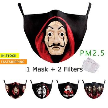 Adult Face Cover Masks The House Of Paper La Casa De Papel Print Reusable Face Mask Anti Pollution PM2.5 Mask Washable Facemask