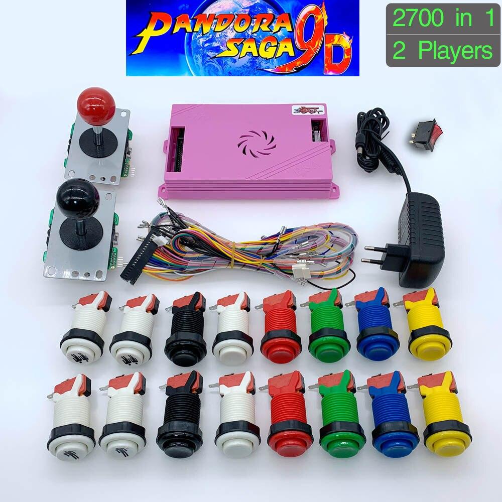 2700 In 1 Pandora Saga Box 9D DIY Arcade Kit Game Board 8 Way Joystick & American Style Push Button For 2 Playes Arcade Machine