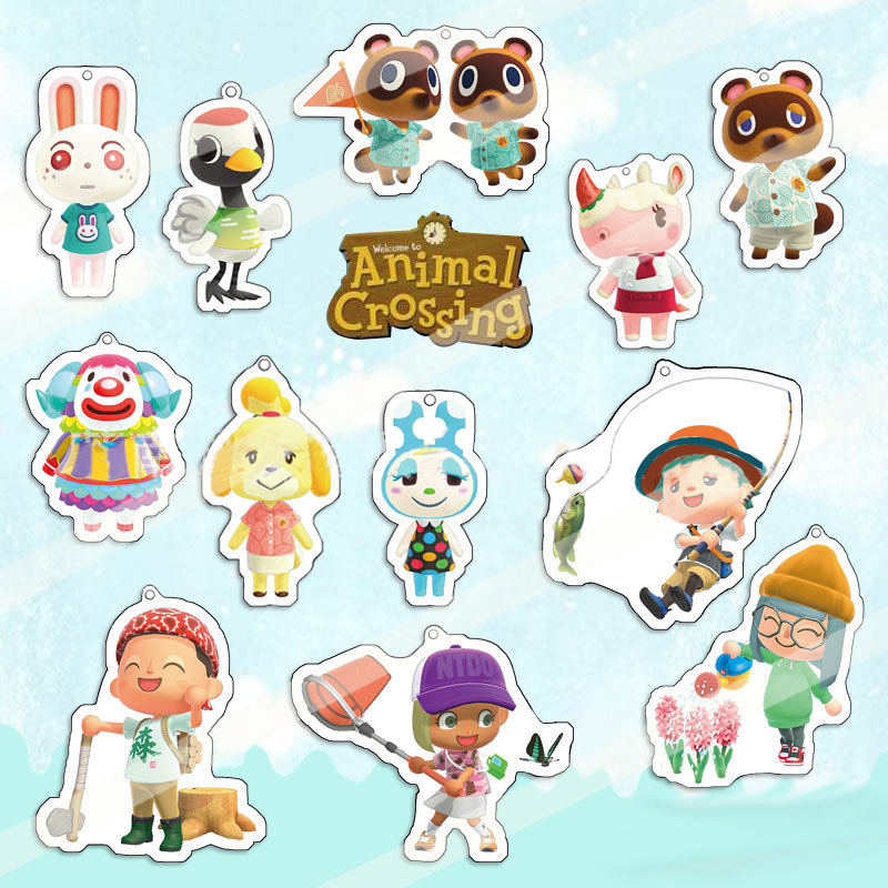 Animal Crossing Acrylic Keychain Fashion Jewelry Accessories Tom Nook Isabellcute Shaped Pendants Jewelry Keyring