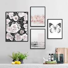 Nordic Art Flower Poster Minimalist Canvas Painting Butterfly Black and White Print Wall Modern Decoration Living Room