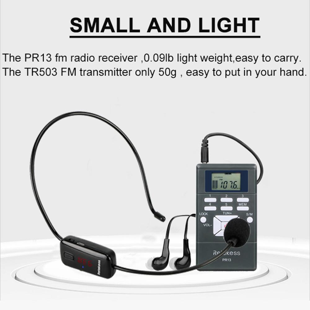 1 TR503 FM Transmitter and 5 PR13 FM Receivers Retekess Tour Guide Wireless Microphone Portable Church Translation System for Teaching Meeting