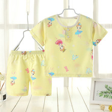 Boys and Girls New Cotton Short-sleeved Shorts Fashion Pajamas Children Baby Home Air-conditioned Clothing