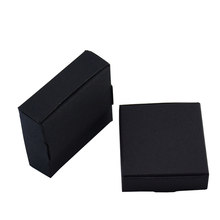 50pieces 6.5x6x2cm Square Black Carton Kraft Paper DIY Gift Packing Box Wedding Party Decor Cardboard Box Handmade Soap Storage(China)