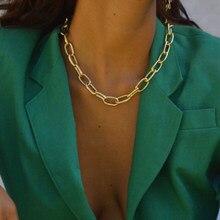 Alta qualidade punk lock gargantilha colar pingente colar feminino colar marca marca cor de ouro grosso grosso colar steampunk