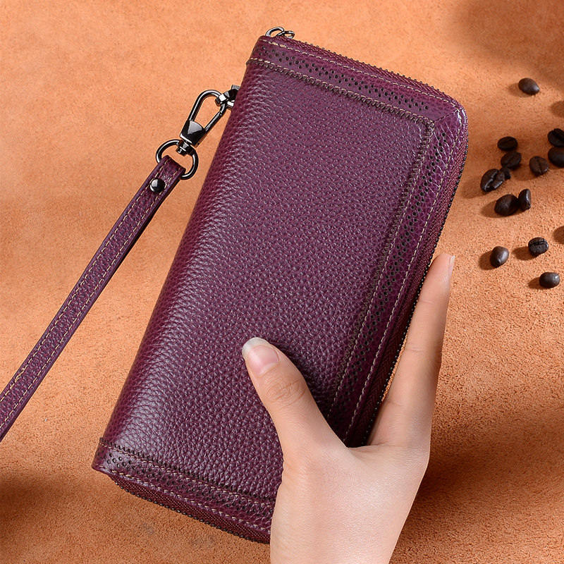 LUXURY Real Genuine Leather CARD HOLDER WALLET Purse Grain Leather Black Brown