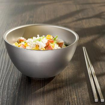 550ml Pure Titanium Rice Bowl For Children's Health Tableware Double-layer Heat Insulation And Anti-Fall Portable Small Bowl